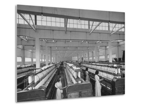 Women Working in the Spinning Room of Textile Mill--Metal Print