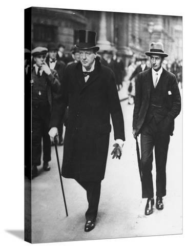 Sir Winston Churchill Walking in Street with Sir James Grigg, His Parliamentary Private Secretary--Stretched Canvas Print