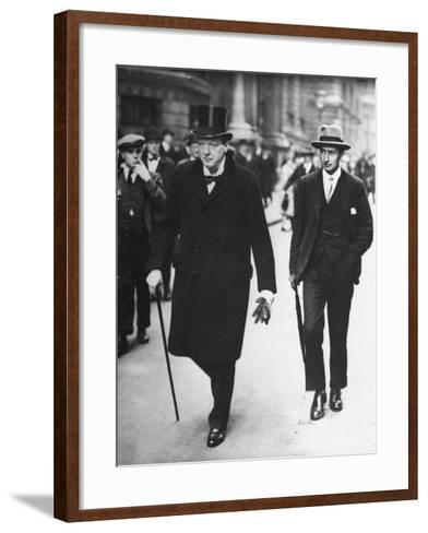 Sir Winston Churchill Walking in Street with Sir James Grigg, His Parliamentary Private Secretary--Framed Art Print