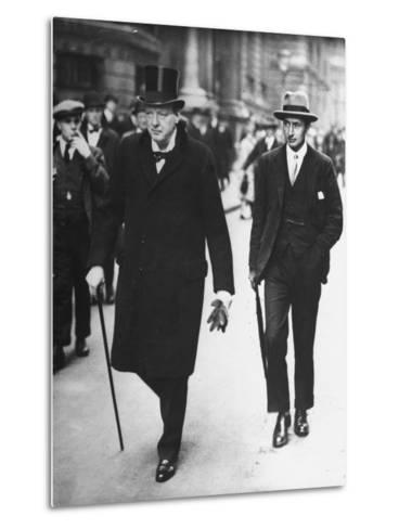 Sir Winston Churchill Walking in Street with Sir James Grigg, His Parliamentary Private Secretary--Metal Print