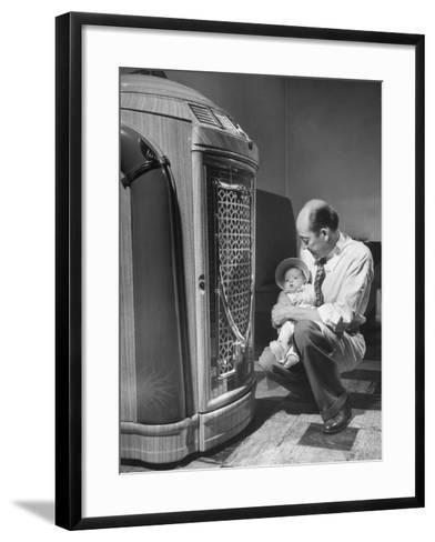 Bartender at the Sawteeth Club, Jack Wills with His Daughter Jane Listening to the Jukebox--Framed Art Print