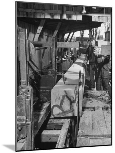 Log Being Sawed into Planks of Lumber for Use in Construction of Ships--Mounted Photographic Print