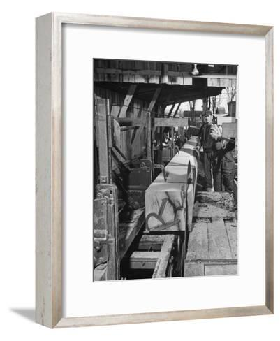 Log Being Sawed into Planks of Lumber for Use in Construction of Ships--Framed Art Print