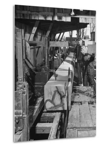 Log Being Sawed into Planks of Lumber for Use in Construction of Ships--Metal Print