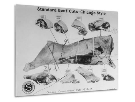 A View of a Meat Poster Showing Different Parts of a Cow from a Story Concerning Army Rations--Metal Print