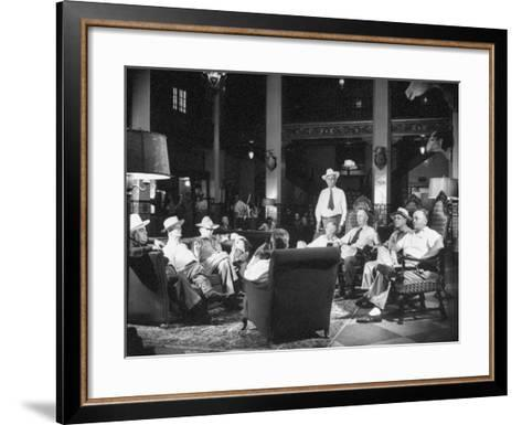 Cattle Men and Natives of San Angelo Sitting in the Lobby of the Cactus Hotel--Framed Art Print