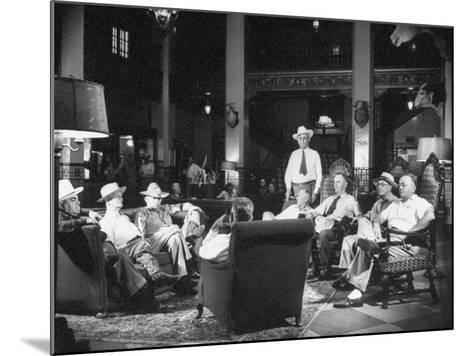 Cattle Men and Natives of San Angelo Sitting in the Lobby of the Cactus Hotel--Mounted Photographic Print