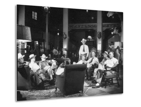 Cattle Men and Natives of San Angelo Sitting in the Lobby of the Cactus Hotel--Metal Print