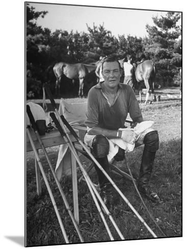 """Stephen """"Laddie"""" Sanford, Taking a Break at the American-Mexican Polo Match--Mounted Photographic Print"""
