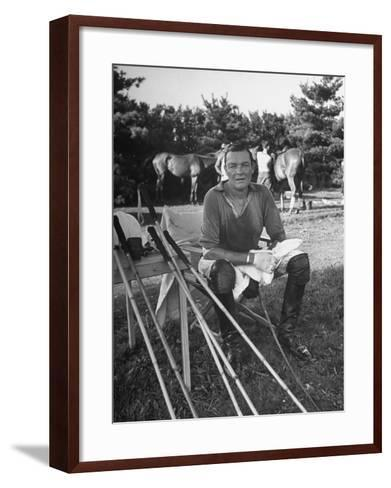 """Stephen """"Laddie"""" Sanford, Taking a Break at the American-Mexican Polo Match--Framed Art Print"""