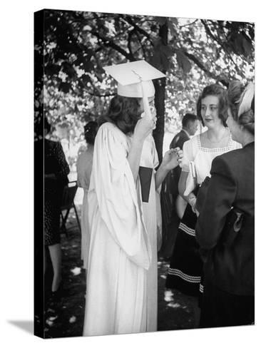Tearful Senior Gretchen Swoboda Wiping Away Tears at End of Her Graduation at Monticello College--Stretched Canvas Print