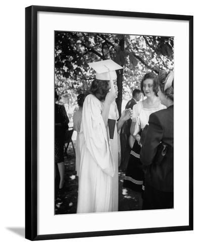 Tearful Senior Gretchen Swoboda Wiping Away Tears at End of Her Graduation at Monticello College--Framed Art Print