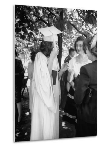 Tearful Senior Gretchen Swoboda Wiping Away Tears at End of Her Graduation at Monticello College--Metal Print