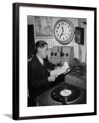 Radio Announcer Speaking into Microphone--Framed Art Print