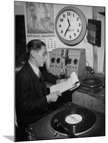 Radio Announcer Speaking into Microphone--Mounted Photographic Print
