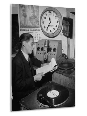 Radio Announcer Speaking into Microphone--Metal Print