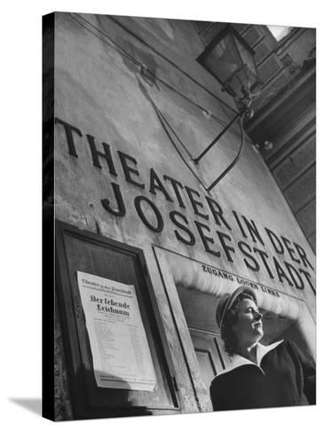Paula Wessely Attending Theater Production at Theater in Der Josefstadt--Stretched Canvas Print