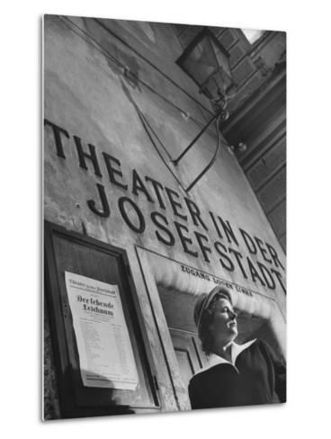Paula Wessely Attending Theater Production at Theater in Der Josefstadt--Metal Print