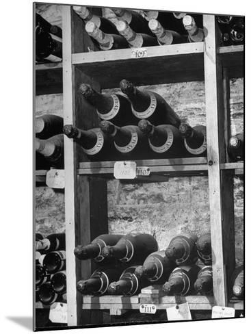 Dust Covered French Vintage Champagnes Lying on Racks in the Wine Cellar--Mounted Photographic Print