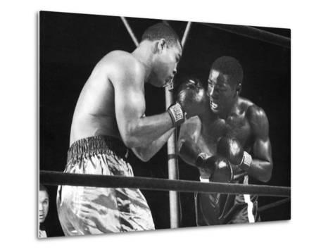 Boxers Joe Louis and Ezzard Charles Battling During a Bout--Metal Print