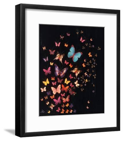 Midnight Butterflies-Lily Greenwood-Framed Art Print
