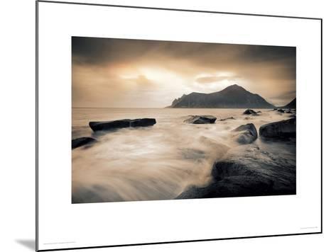 Sepia Sea, Lofoten Islands-Andreas Stridsberg-Mounted Giclee Print