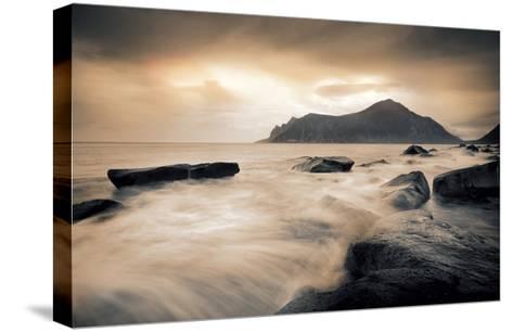 Sepia Sea, Lofoten Islands-Andreas Stridsberg-Stretched Canvas Print