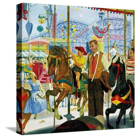 """""""Amusement Park Carousel"""", August 9, 1958-Earl Mayan-Stretched Canvas Print"""