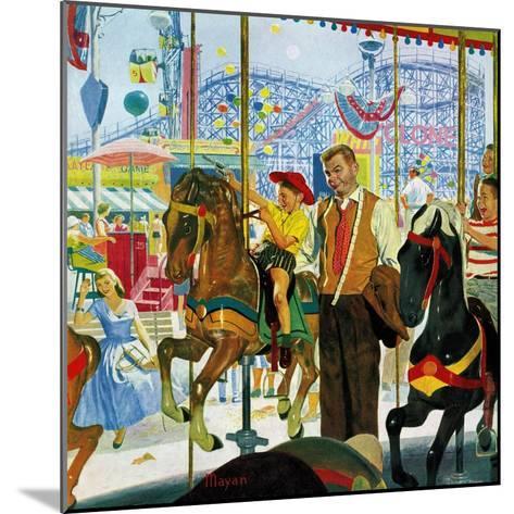 """Amusement Park Carousel"", August 9, 1958-Earl Mayan-Mounted Giclee Print"