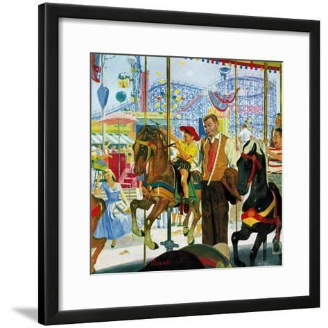 """""""Amusement Park Carousel"""", August 9, 1958-Earl Mayan-Framed Art Print"""