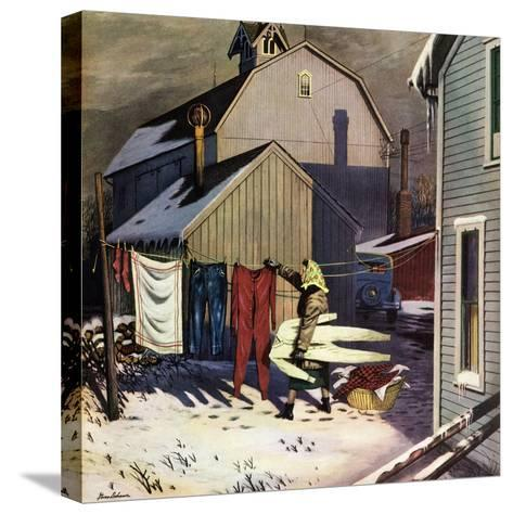 """Frozen Laundry"", March 8, 1952-Stevan Dohanos-Stretched Canvas Print"