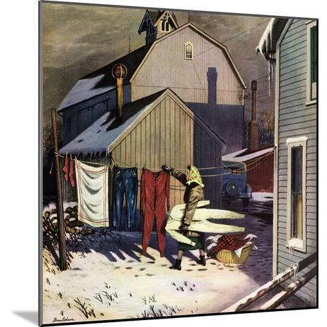 """Frozen Laundry"", March 8, 1952-Stevan Dohanos-Mounted Giclee Print"
