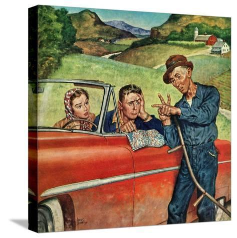 """""""Go Two Miles, Turn Left..."""", July 9, 1955-Amos Sewell-Stretched Canvas Print"""