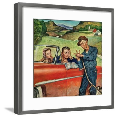 """""""Go Two Miles, Turn Left..."""", July 9, 1955-Amos Sewell-Framed Art Print"""