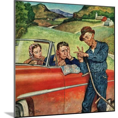 """""""Go Two Miles, Turn Left..."""", July 9, 1955-Amos Sewell-Mounted Giclee Print"""