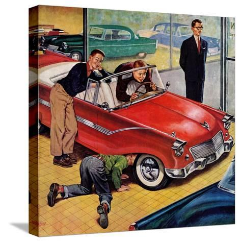 """""""Automobile Showroom"""", December 8, 1956-Amos Sewell-Stretched Canvas Print"""