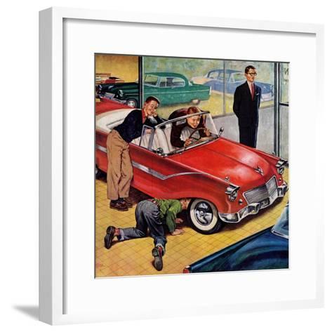 """Automobile Showroom"", December 8, 1956-Amos Sewell-Framed Art Print"