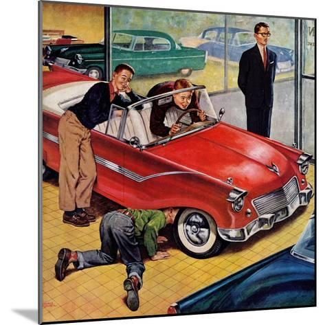 """""""Automobile Showroom"""", December 8, 1956-Amos Sewell-Mounted Giclee Print"""