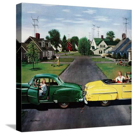 """""""Backup Collision"""", August 4, 1956-Stevan Dohanos-Stretched Canvas Print"""