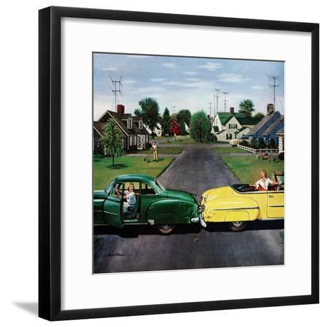 """""""Backup Collision"""", August 4, 1956-Stevan Dohanos-Framed Art Print"""