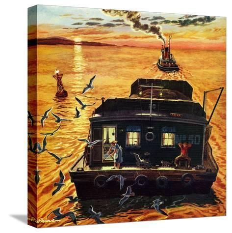 """""""Barges"""", April 6, 1957-Ben Kimberly Prins-Stretched Canvas Print"""