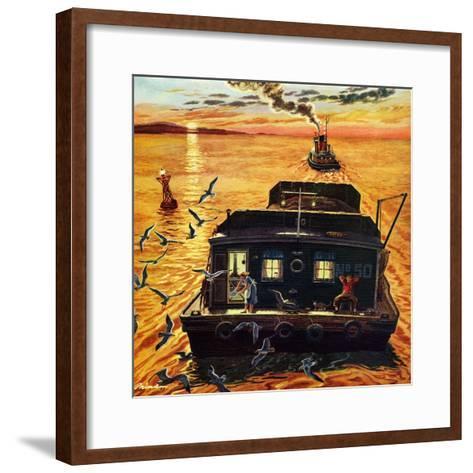 """""""Barges"""", April 6, 1957-Ben Kimberly Prins-Framed Art Print"""