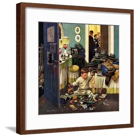 """Toddler Empties Purses"", November 22, 1952-Stevan Dohanos-Framed Art Print"
