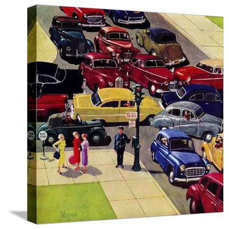 """Traffic Jam"", April 28, 1956-Earl Mayan-Stretched Canvas Print"