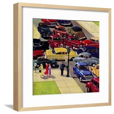 """Traffic Jam"", April 28, 1956-Earl Mayan-Framed Art Print"