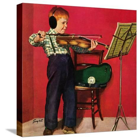 """""""Violin Practice"""", February 5, 1955-Richard Sargent-Stretched Canvas Print"""