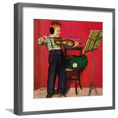 """""""Violin Practice"""", February 5, 1955-Richard Sargent-Framed Art Print"""