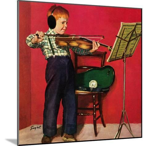 """""""Violin Practice"""", February 5, 1955-Richard Sargent-Mounted Giclee Print"""