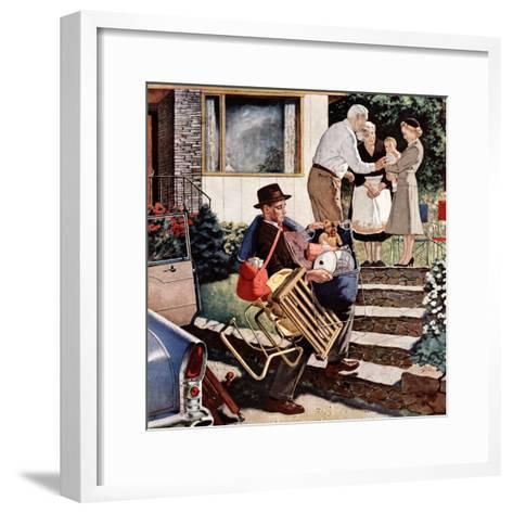 """Visiting the Grandparents"", August 3, 1957-Amos Sewell-Framed Art Print"