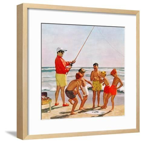 """Big Pole Little Fish"", September 1, 1956-Richard Sargent-Framed Art Print"